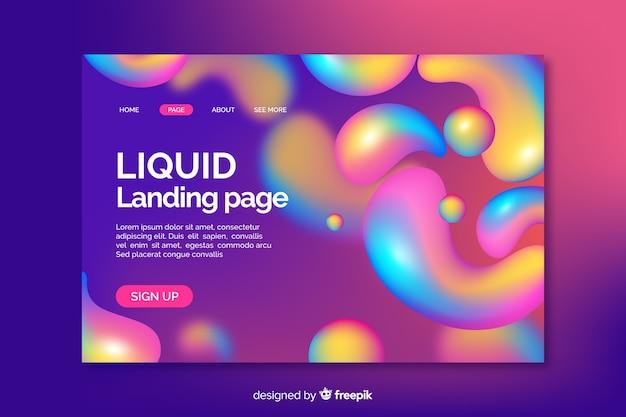 Página de inicio de líquido de color arcoíris vector gratuito