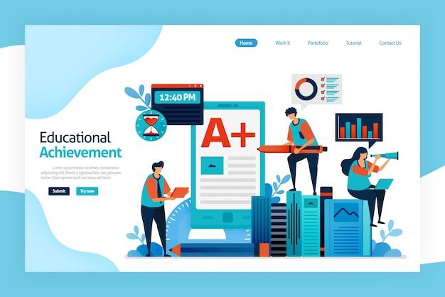 Página de inicio del logro educativo Vector Premium