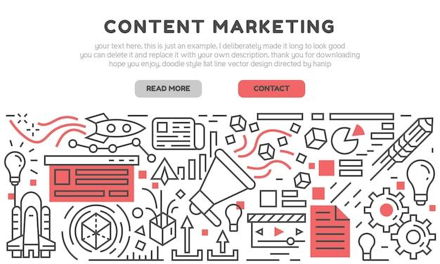 Página de inicio de marketing de contenido Vector Premium