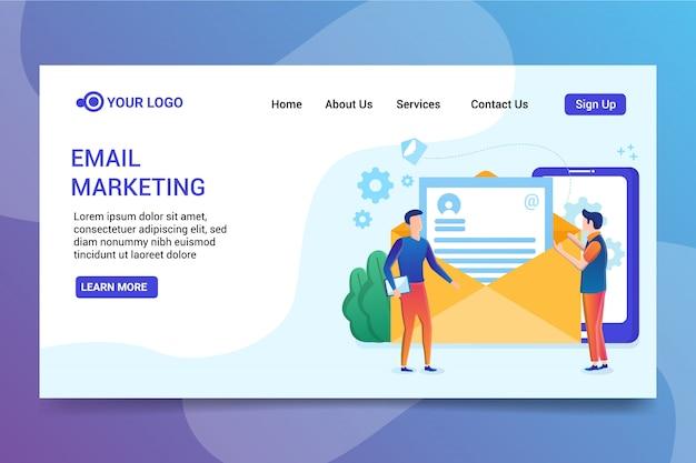 Página de inicio de marketing por correo electrónico Vector Premium