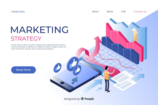 Página de inicio de marketing en estilo isométrico vector gratuito