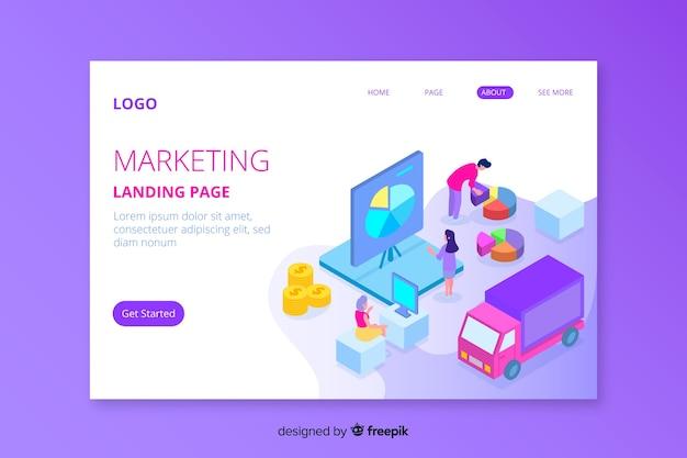 Página de inicio de marketing isométrica ilustrada vector gratuito
