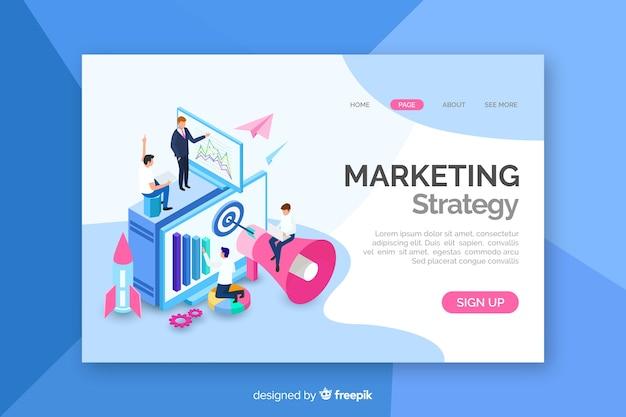 Página de inicio de marketing isométrica Vector Premium