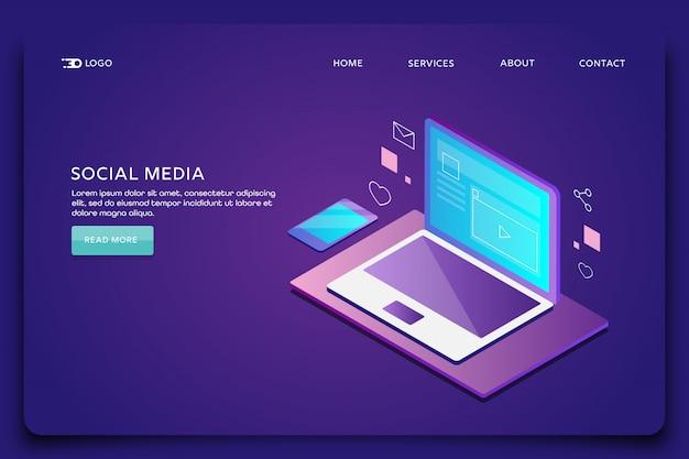 Página de inicio de marketing en redes sociales Vector Premium