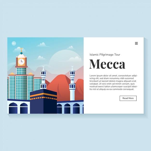 Página de inicio de mecca landmark environment Vector Premium