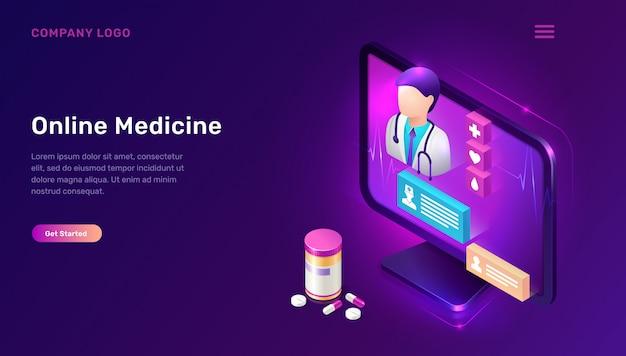 Página de inicio de medicina en línea vector gratuito