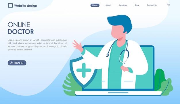 Página de inicio del médico en línea en estilo plano Vector Premium