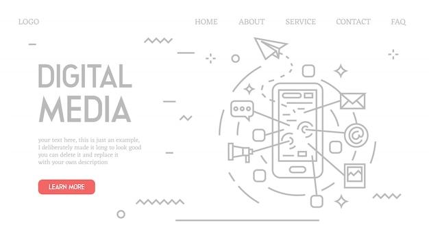 Página de inicio de medios digitales en estilo doodle Vector Premium