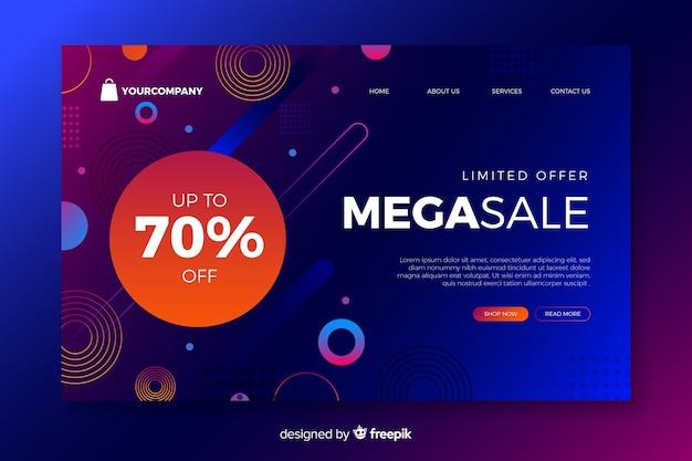 Página de inicio con mega venta vector gratuito