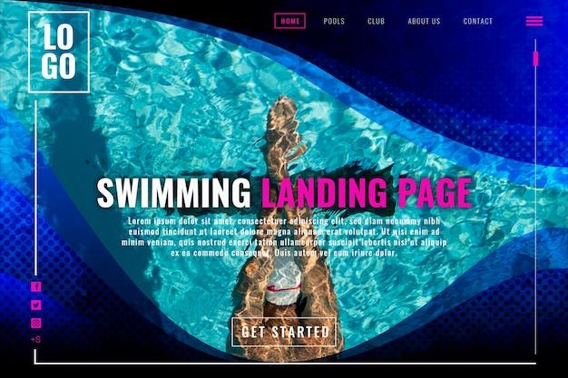Página de inicio de natación Vector Premium