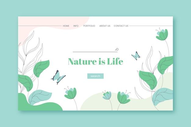 Página de inicio de naturaleza dibujada a mano vector gratuito