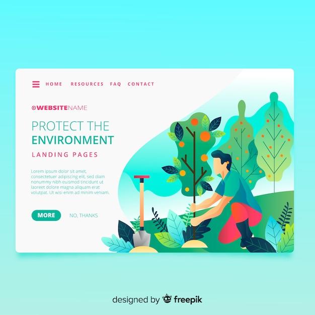Página de inicio de la naturaleza con ilustración vector gratuito