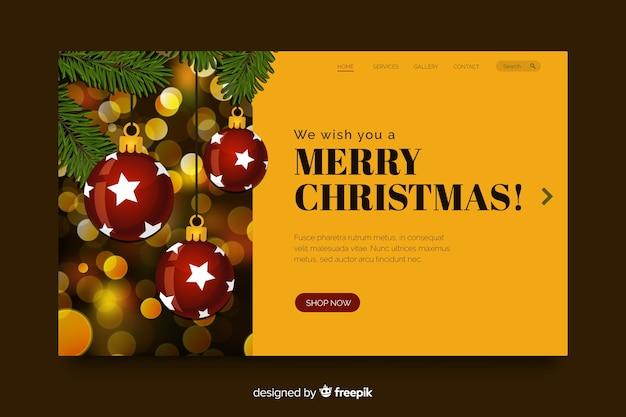 Página de inicio de navidad con efecto bokeh vector gratuito