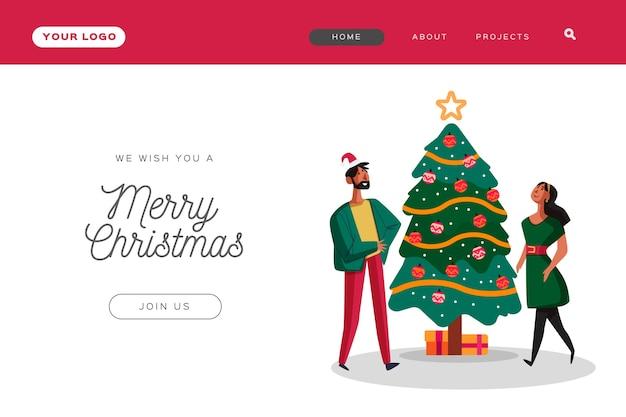 Página de inicio de navidad plana con gente decorando un árbol vector gratuito