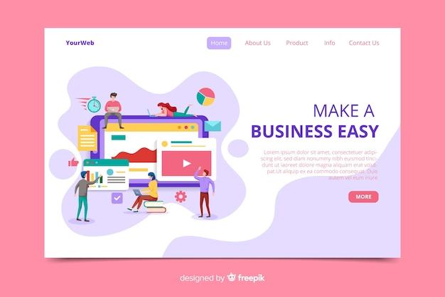 Página de inicio de negocios de diseño plano vector gratuito