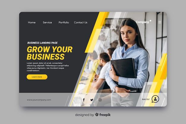 Página de inicio de negocios con foto vector gratuito