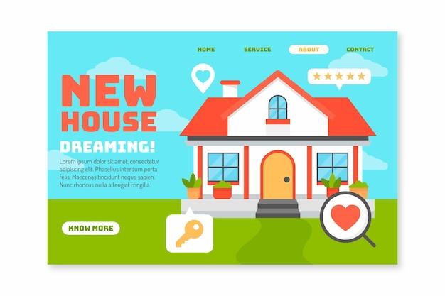 Página de inicio de la nueva casa de bienes raíces vector gratuito