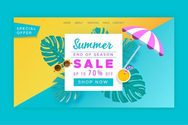 Página de inicio de ofertas de verano de fin de temporada vector gratuito