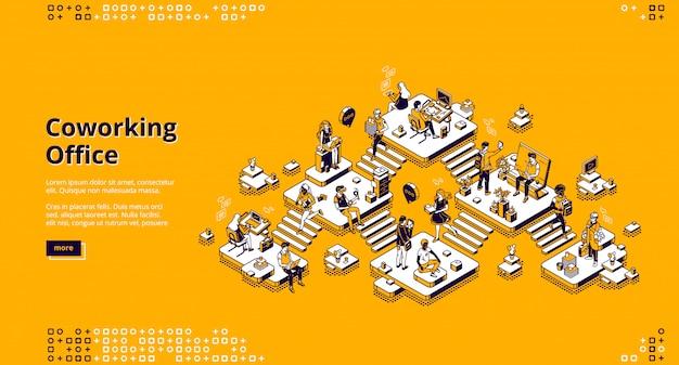 Página de inicio de la oficina de coworking vector gratuito