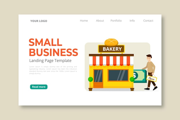 Página de inicio de pequeñas empresas vector gratuito
