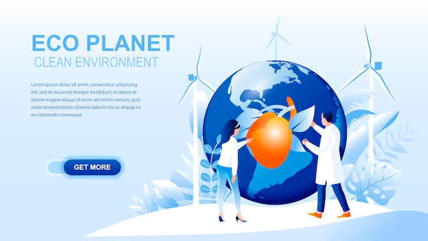 Página de inicio plana de eco planet con encabezado, plantilla de banner. Vector Premium
