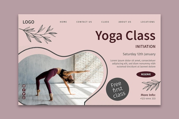 Página de inicio de plantilla de clase de yoga vector gratuito
