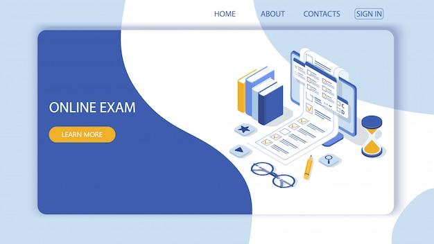 Página de inicio con plantilla de diseño para cuestionario, encuesta de educación en línea. aplicación web de computadora de examen en línea. Vector Premium