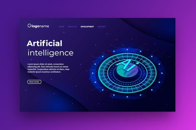 Página de inicio de plantilla de inteligencia artificial vector gratuito