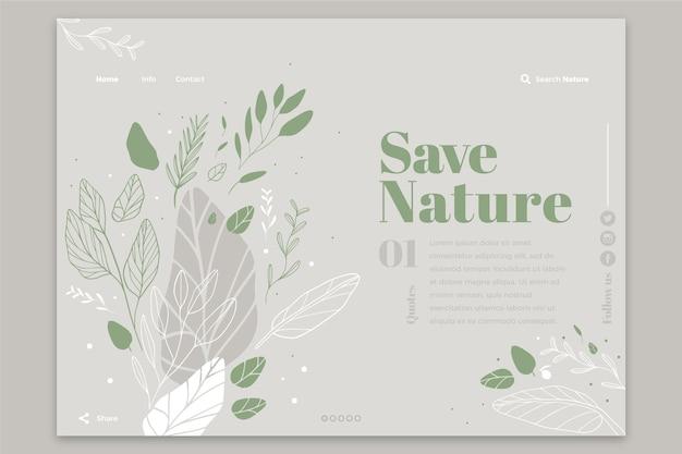 Página de inicio de plantilla de naturaleza dibujada a mano vector gratuito