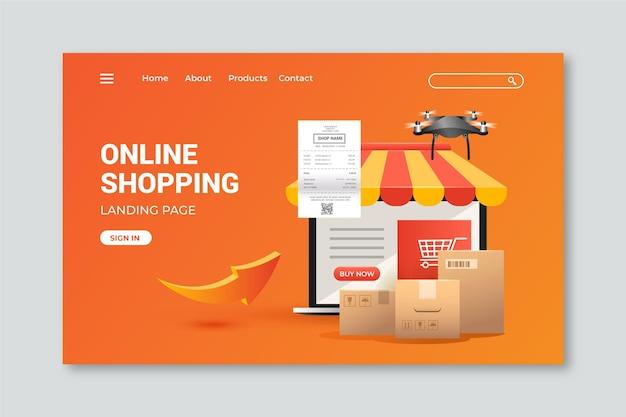 Página de inicio de plantilla realista de compras en línea vector gratuito