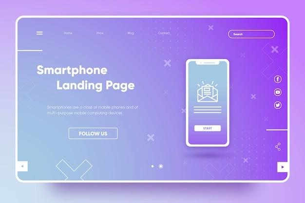 Página de inicio de plantilla con teléfono inteligente vector gratuito