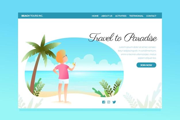 Página de inicio de plantilla de viaje vector gratuito