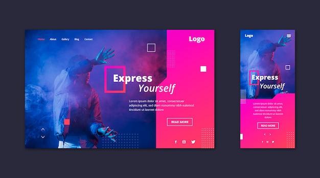 Página de inicio de plantilla web para expresión vector gratuito