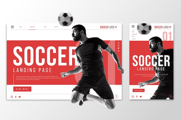 Página de inicio de plantilla web para fútbol vector gratuito