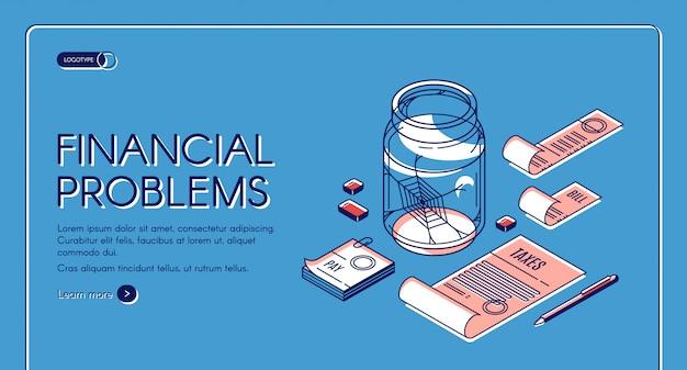 Página de inicio de problemas financieros vector gratuito