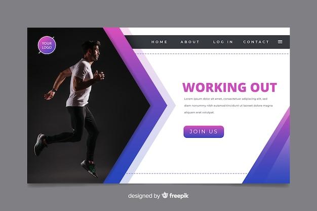 Página de inicio de promoción de gimnasio con foto vector gratuito