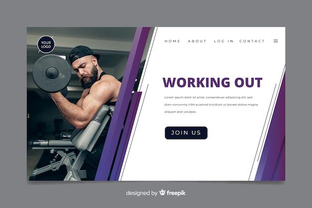 Página de inicio de promoción de gimnasio vector gratuito