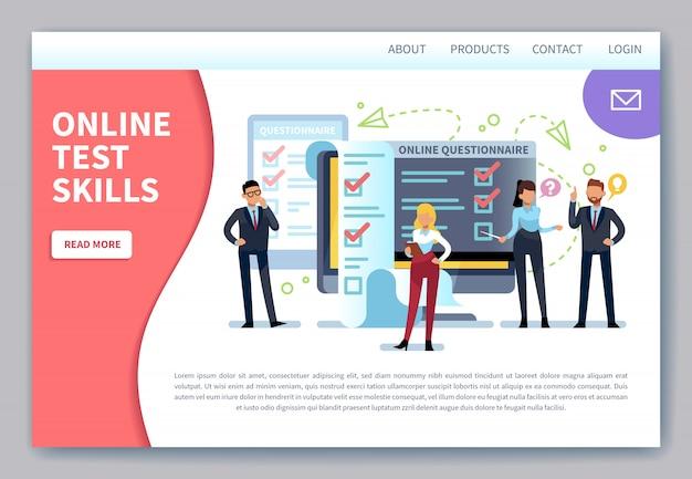 Página de inicio de pruebas en línea. encuesta por internet, formulario de prueba de lista de verificación. cuestionario móvil, evaluación de votación de clientes Vector Premium