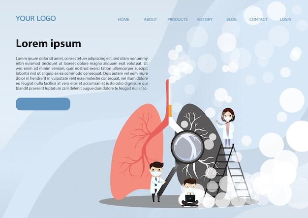 Página de inicio de pulmones humanos Vector Premium