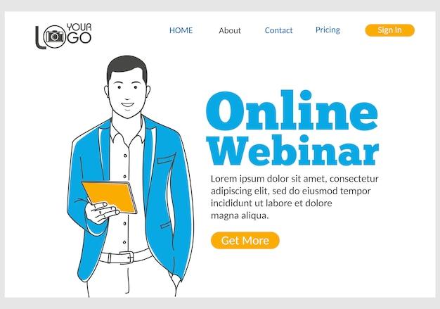 Página de inicio del seminario web en línea en estilo de línea fina. Vector Premium