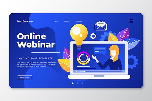 Página de inicio del seminario web en línea vector gratuito