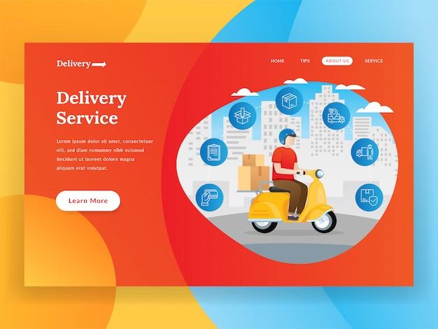 Página de inicio del servicio de entrega en línea con scooter Vector Premium