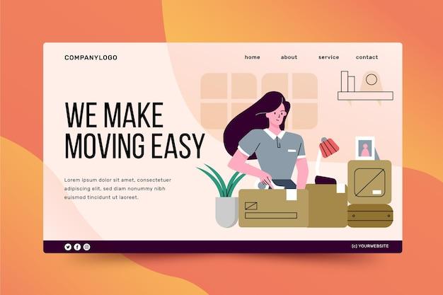 Página de inicio de servicios de mudanza de casa vector gratuito