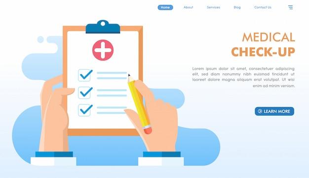 Página de inicio del sitio web de chequeo médico Vector Premium