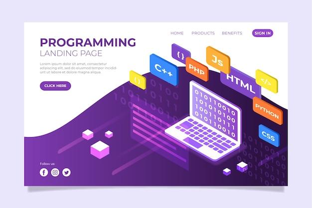 Página de inicio del sitio web de programación Vector Premium