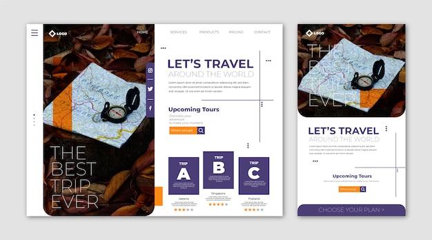 Página de inicio del sitio web de viajes vector gratuito