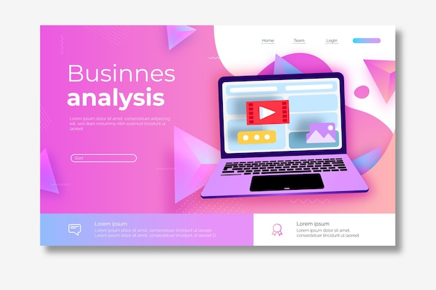 Página de inicio sobre análisis de negocios con laptop ilustrada vector gratuito