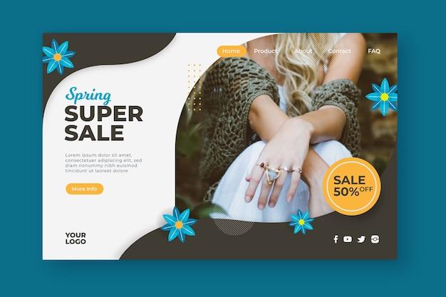 Página de inicio de super venta de primavera floral vector gratuito