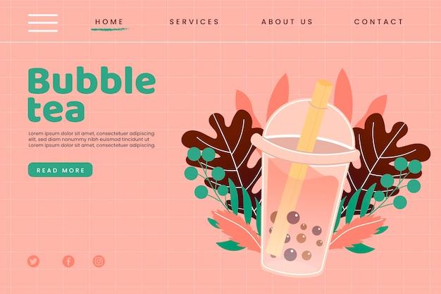 Página de inicio de té de burbujas Vector Premium