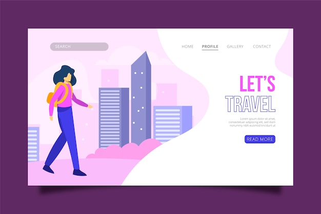 Página de inicio temática ilustrada itinerante vector gratuito